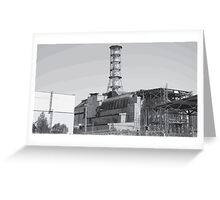 Chernobyl Reactor Four Black and White Greeting Card
