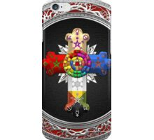 Rosy Cross - Rose Croix in Silver on Black iPhone Case/Skin