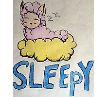 Sheep Asleep on Cloud of Yellow Dreams Photographic Print