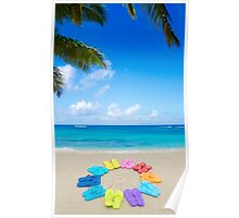 Color flip flops and drawing sun on sandy beach Poster