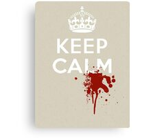 """Walking Dead Style """"Keep Calm"""" with Zombie Blood Splatter Canvas Print"""