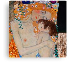Gustav Klimt, mother and child,reproduction,art nouveau,great art from vintage painters Canvas Print