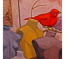 Red Bird with Mannequins Photographic Print