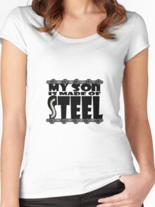 My Son Is Made Of Steel - Scoliosis Awareness Women's Fitted Scoop T-Shirt