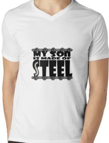 My Son Is Made Of Steel - Scoliosis Awareness Mens V-Neck T-Shirt