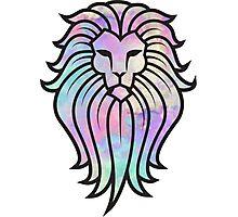 Rainbow Watercolor Lion Photographic Print