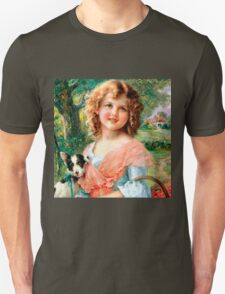cute vintage girl and dog,victorian art,reproduction,beautiful,pretty,adorable Unisex T-Shirt