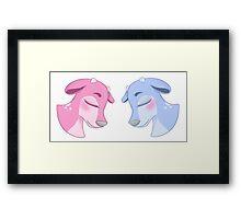 Blue & Pink Deer Framed Print