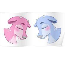 Blue & Pink Deer Poster