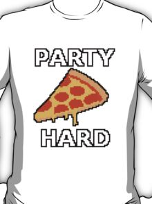 Party Hard Pizza Pixel Art T-Shirt