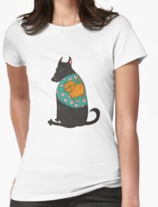 Black Dog in a Kitten Coat Womens Fitted T-Shirt