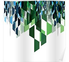 Blue and Green Geometric Icicles Poster