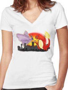 Venomothra Vs. Charzilla Women's Fitted V-Neck T-Shirt