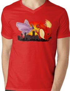Venomothra Vs. Charzilla Mens V-Neck T-Shirt