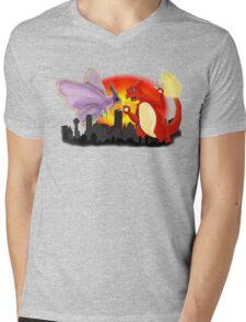 Venomothra Vs. Charzilla Mens V-Neck T-Shirt