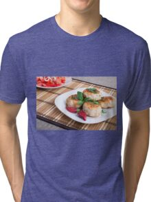 Chicken meatballs of minced meat and a salad of raw tomatoes Tri-blend T-Shirt