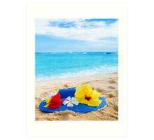 Woman's hat with tropical flowers on sandy beach Art Print