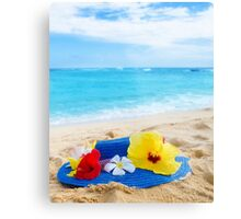 Woman's hat with tropical flowers on sandy beach Metal Print