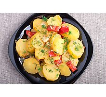 Top view on a stew of potatoes with onion and bell pepper Photographic Print