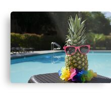 Pineapple by the pool Metal Print