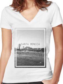 Santa Monica, California Women's Fitted V-Neck T-Shirt