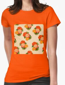 floral,vintage,flower,pattern,orange,yellow,pink,green,beige,rustic Womens Fitted T-Shirt