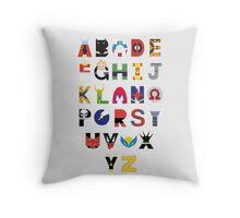 marvel superhero alphabet Throw Pillow