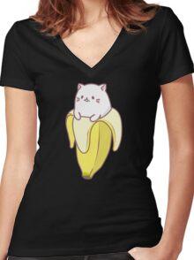Banana Cat Women's Fitted V-Neck T-Shirt