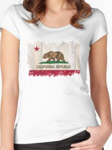 California Republic state flag - distressed edges on spruce planks Women's Fitted Scoop T-Shirt