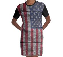 """Old Glory"" on wood Graphic T-Shirt Dress"