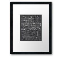 Oklahoma City Map, USA - Gray Framed Print