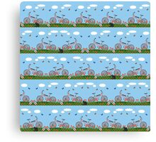 Pink bicycles pattern Canvas Print