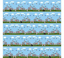 Pink bicycles pattern Photographic Print