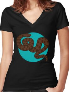 Brown Water Snake Women's Fitted V-Neck T-Shirt