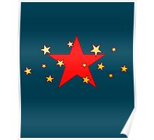 Red Star with Little Stars Poster