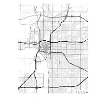 Tulsa Map, USA - Black and White Photographic Print