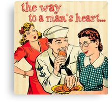 The way to a mans heart.1950 era, cartoon, style,cute,fun,vintage,retro Canvas Print