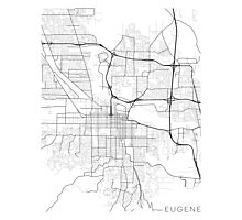Eugene Map, USA - Black and White Photographic Print