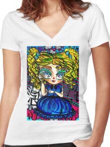 Powerpuff Girls - Bubbles Women's Fitted V-Neck T-Shirt
