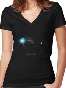 In space no one can hear you scream Women's Fitted V-Neck T-Shirt