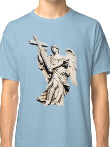angel statue holding a big cross,faith,religion,christian,angel Classic T-Shirt