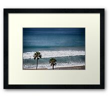 twin palms at the beach Framed Print