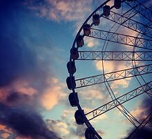 The wheel of Manchester as the sun sets  by Michaelocm3