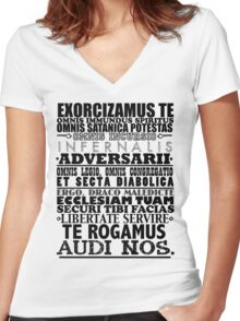Exorcism Chant Women's Fitted V-Neck T-Shirt