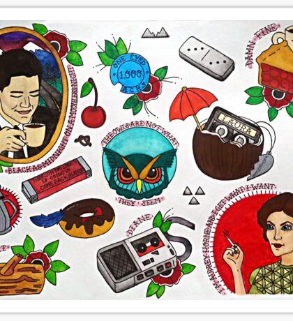 Twin Peaks Tattoo Flash Sticker