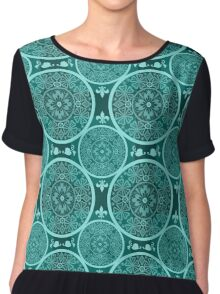 Turquoise abstract  lace pattern texture Chiffon Top