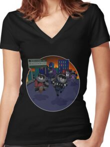 Escape Raccoon City Women's Fitted V-Neck T-Shirt