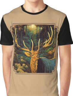 Autumn Majesty - Elk Oil Painting Graphic T-Shirt