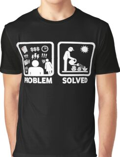 Gardening Funny Problem Solved Stickman Shirt Graphic T-Shirt