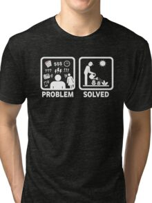 Gardening Funny Problem Solved Stickman Shirt Tri-blend T-Shirt